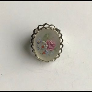 Vintage Women Ring Silver Floral Print Adjustable